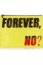 KENZO 'Forever, No?' oversized flocked leather clutch