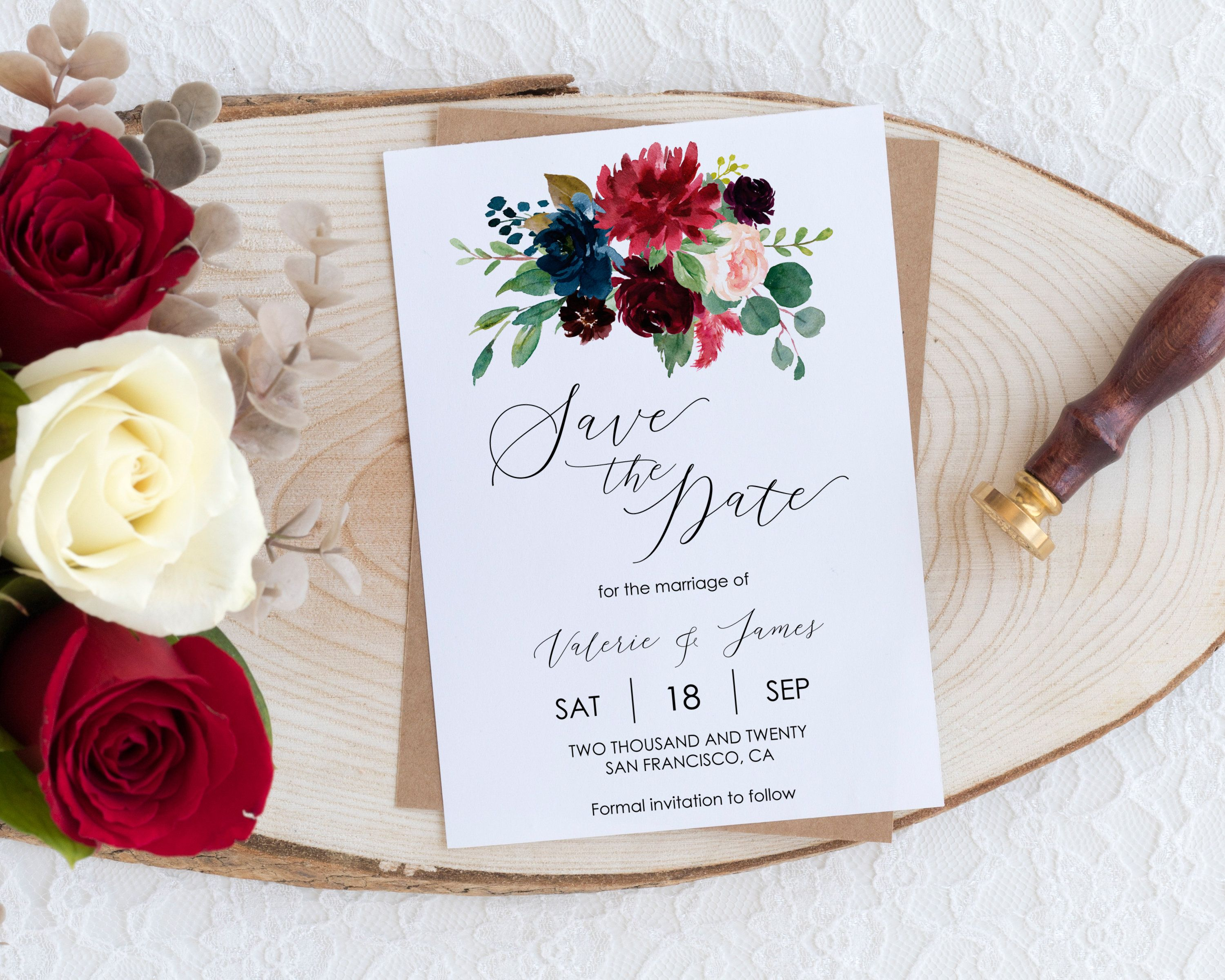 Burgundy floral save the date template download pdf