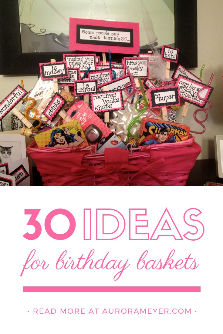 Turning 30 Birthday Basket Birthday basket, 30 birthday