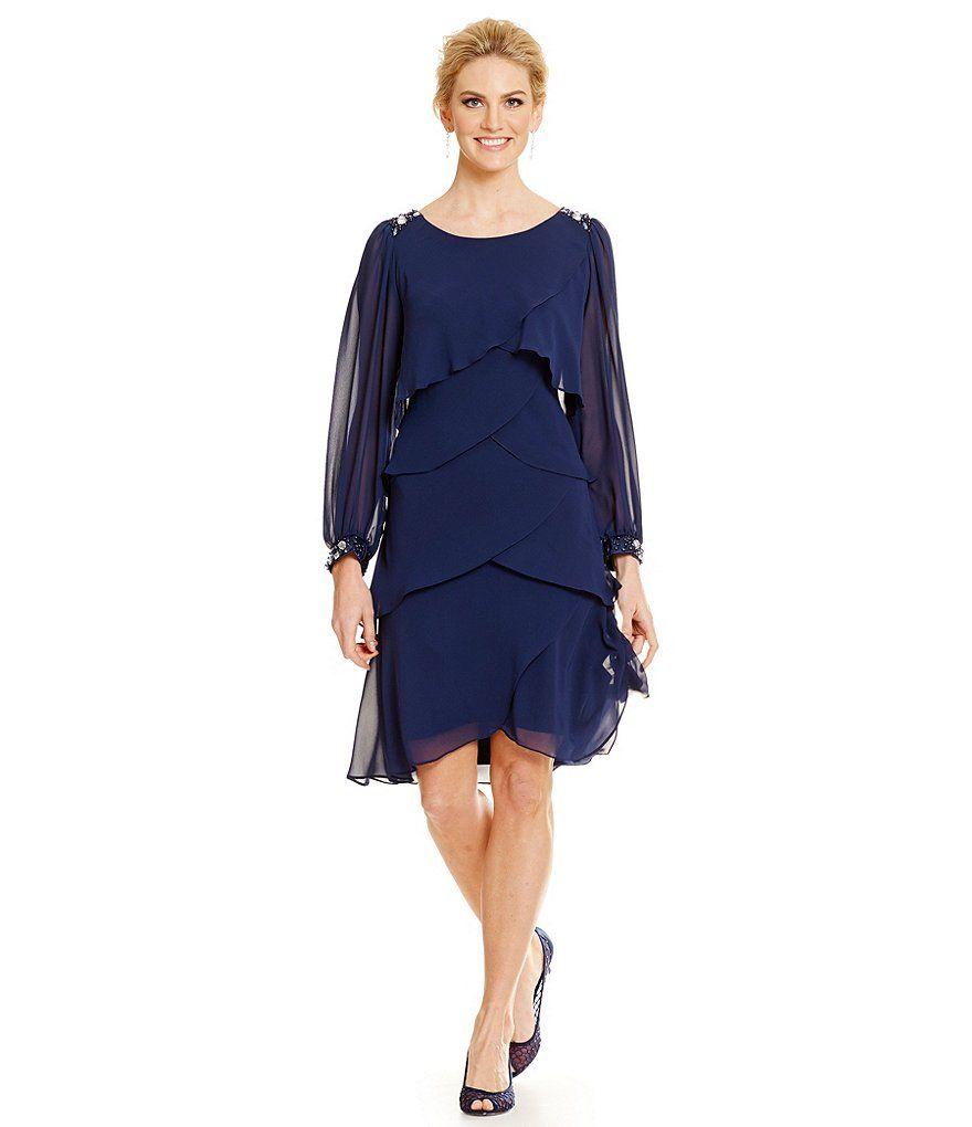 Sl sl fashion dresses - S L Fashions Embellished Artichoke Tiered Dress