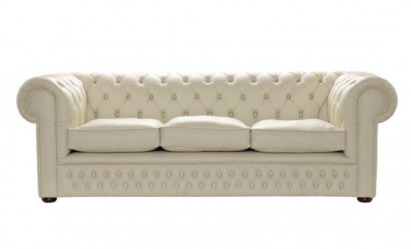 Cream Leather Chesterfield Sofa 1