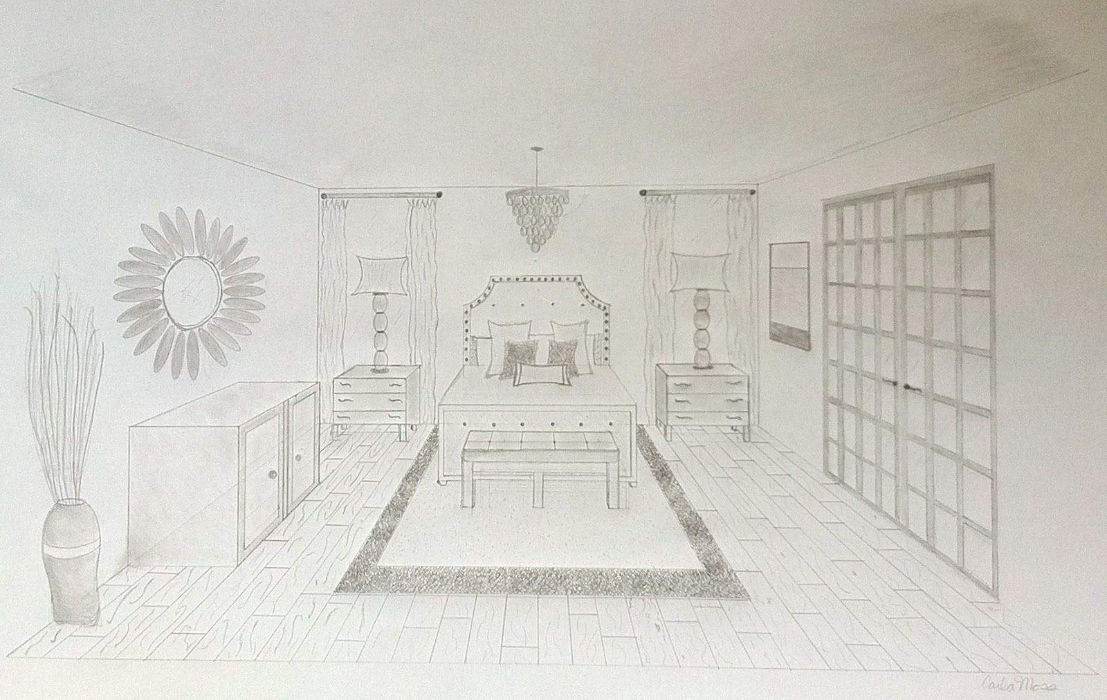 One point perspective living room drawing - One Point Perspective Interior Google Search