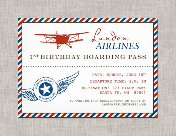 Vintage Airplane Birthday Invitation 1500 Via Etsy