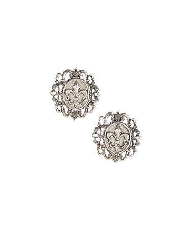 Loving this Gray Czech Crystal & Silvertone Fleur-de-Lis Stud Earrings on #zulily! #zulilyfinds