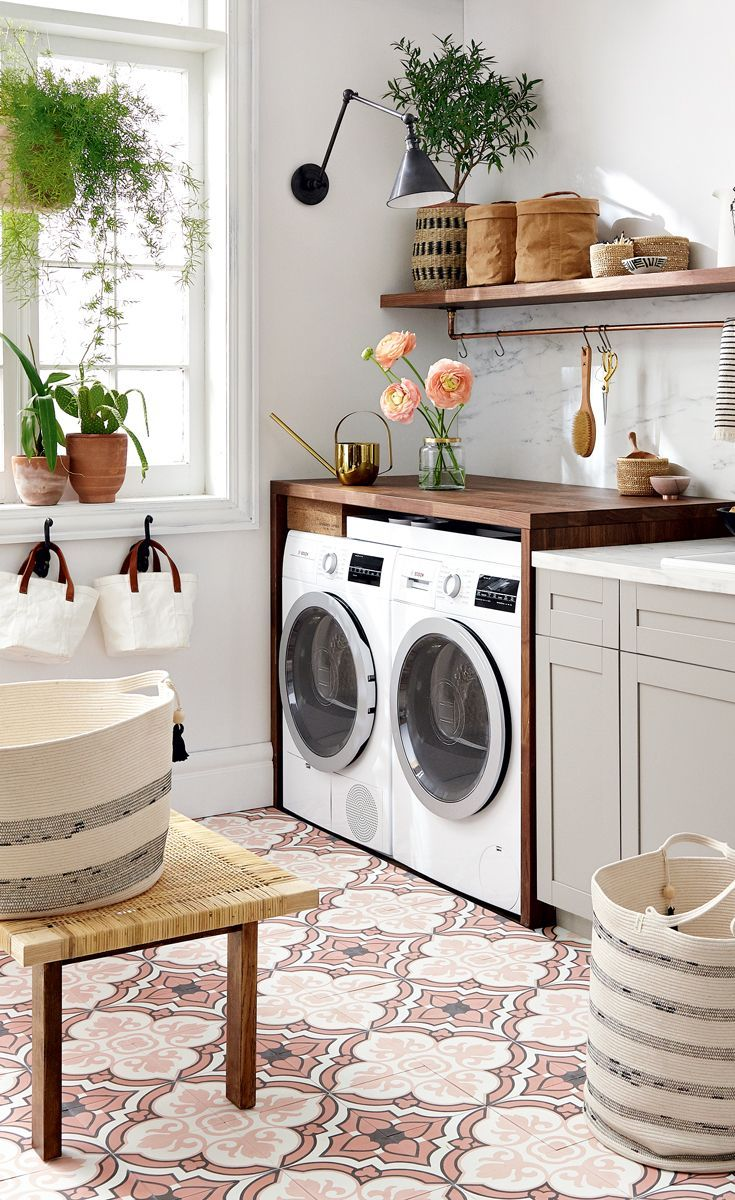This airy Moorish-inspired laundry room was designed on both a polyester and a silk budget.#laundryroommakeover #homedecorideas #diyhomedecor #decoratingideas
