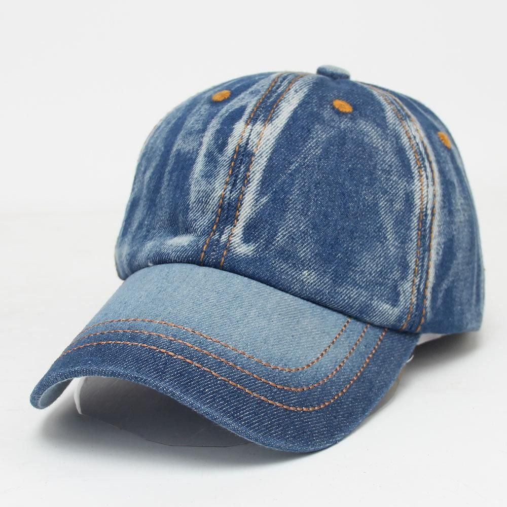 d23d3ba938e Mens Women Vintage Solid Color Denim Baseball Cap Casual Travel Visor Snapback  Caps Jeans Hat