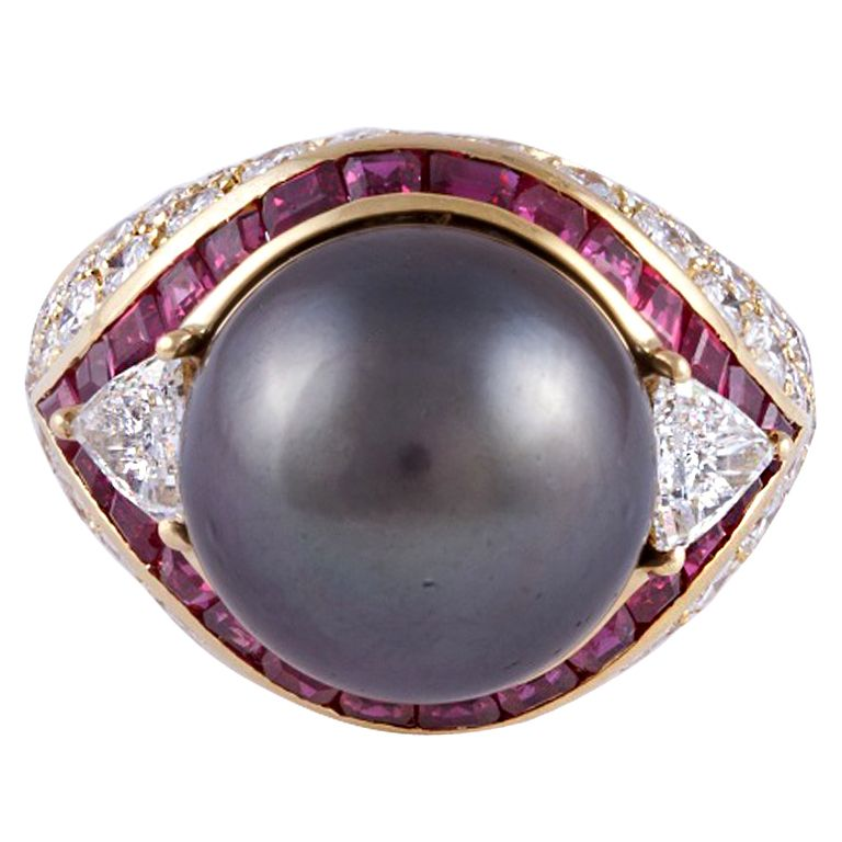 Tahitian Pearl Diamond Ruby Gold Ring.18KT yellow gold, 13.9mm.Total rubies are approximately 2.60 carats.Total diamonds are approximately 3.00 carats.Italy. Circa 1990s