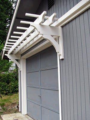 Blue Roof Cabin Diy Trellis Over The Garage Door Diy Trellis Garage Trellis Front Porch Stairs