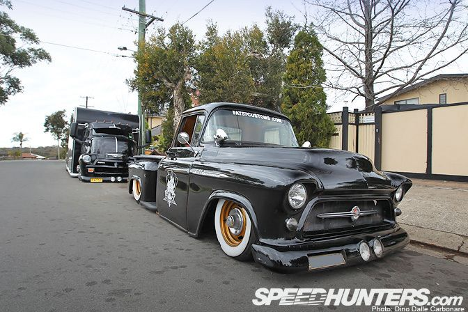 Cool 1957 Chevy Pick up across the pond.