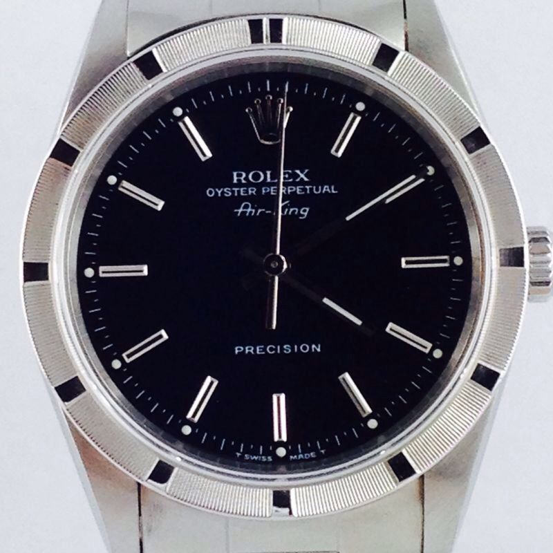 rolex airking ref 14010 steel 34mm ca 1997 black dial in uhren schmuck armband. Black Bedroom Furniture Sets. Home Design Ideas
