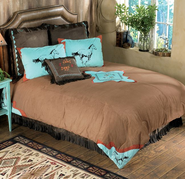 Ideas For Bedroom Decorating Themes Full Turquoise Bedroom Decorating Theme And Curtain Ideas: Spirit Horse Bedding Collection