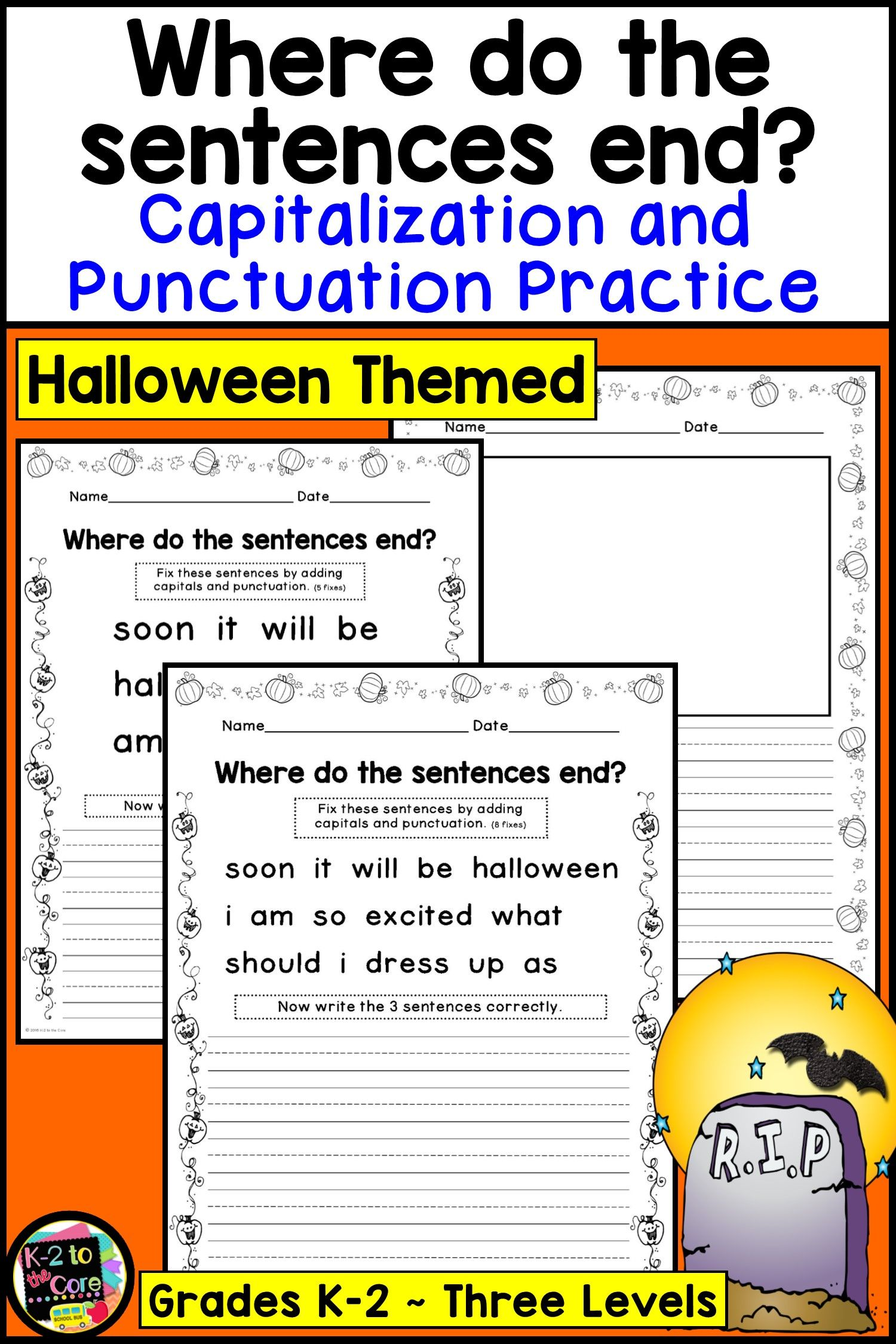 Halloween Writing Activity Capitalization And Punctuation Practice For 1st And 2nd Grade Halloween Writing Writing Worksheets Grammar Worksheets
