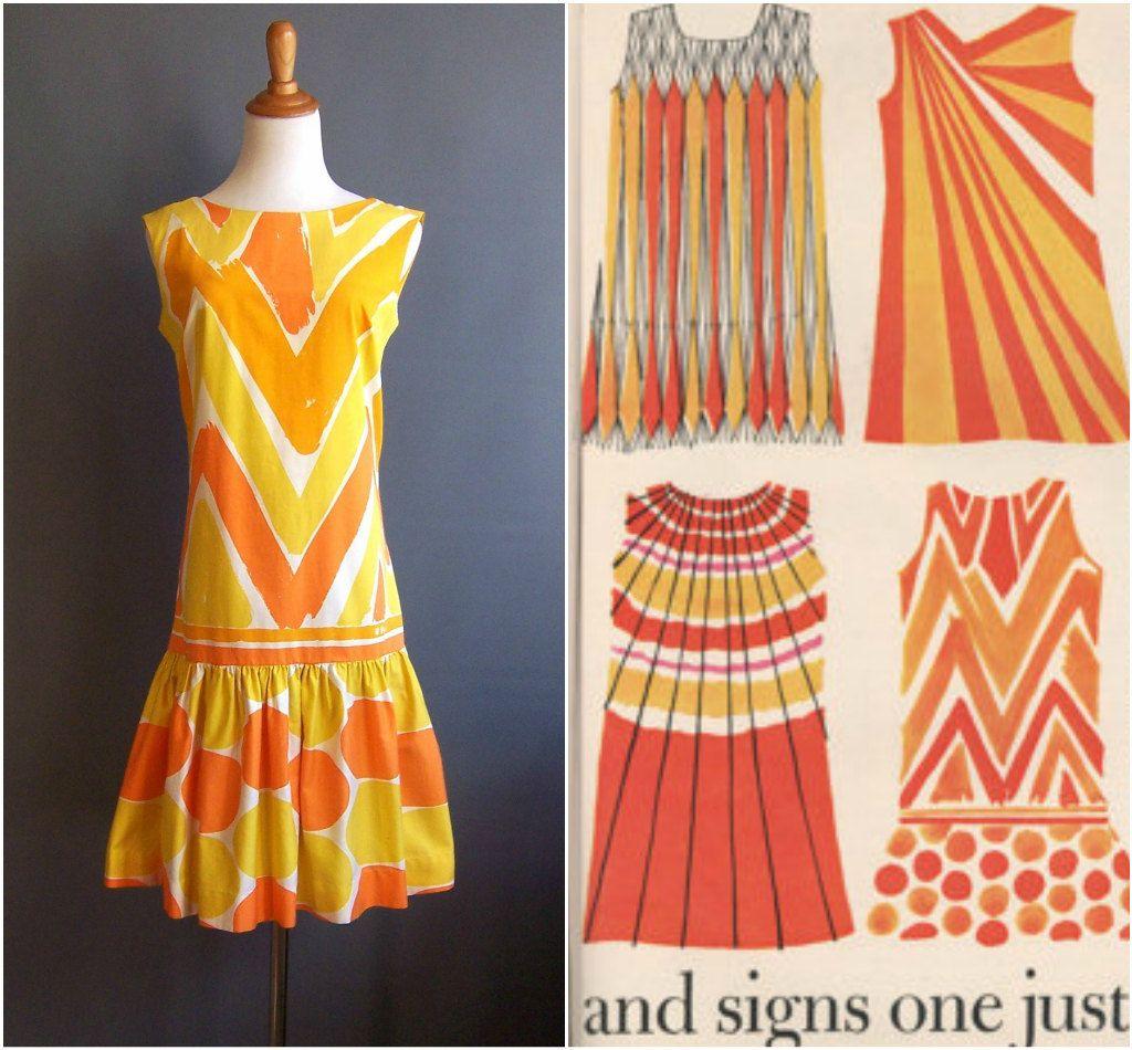 1960s Vera shift dress mod minidress engineered print supergraphic hand print Vera Neumann 1967 Hoorays (151.99 USD) by edgertor