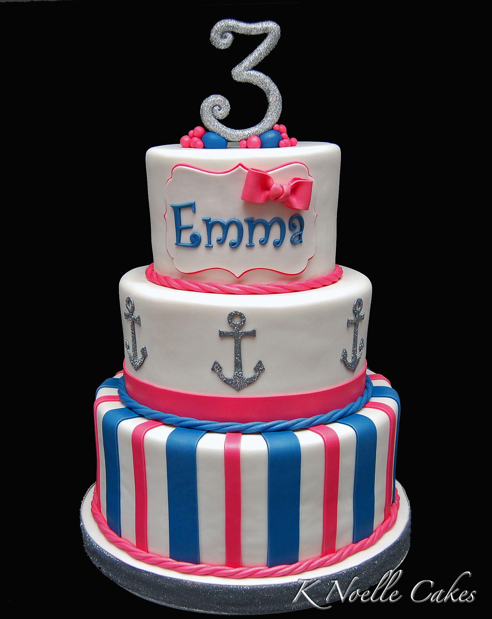 Nautical theme birthday cake by K Noelle Cakes