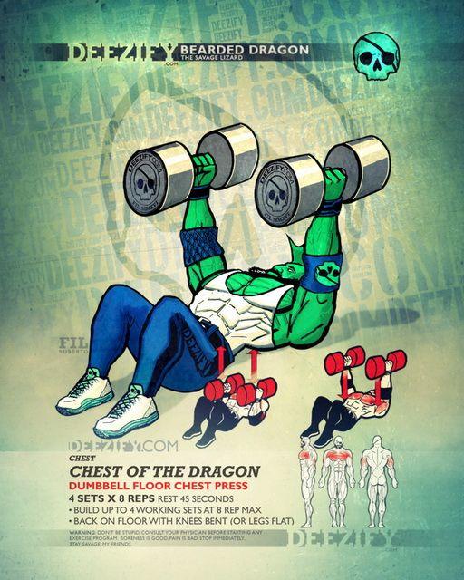 Dumbbell Chest Workouts For Men: Chest Exercise: Dumbbell Floor Press Dragon