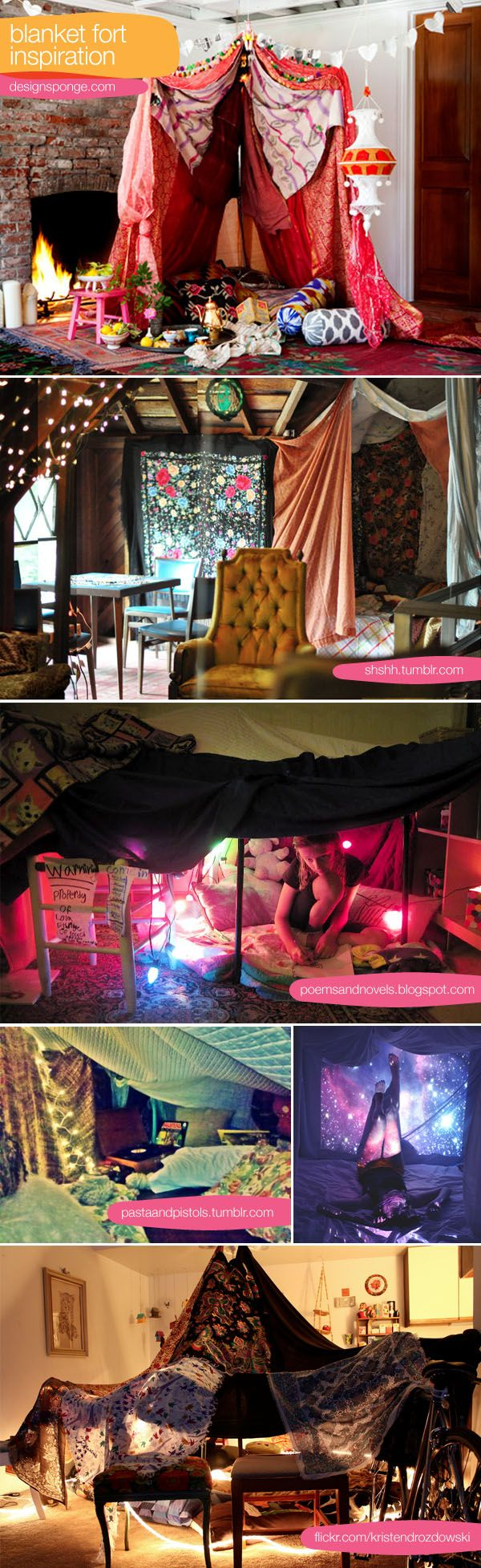 blanket fort inspiration. clay's is going to be epic this year. i have been collecting fabric and ideas! it's fun and silly and even romantic to hide out in a blanket fort together.