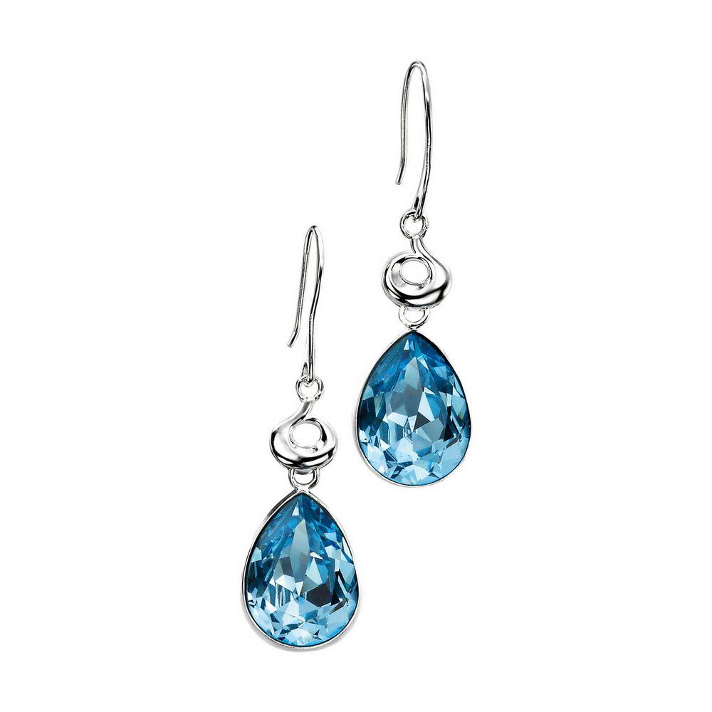 Swarovski Drop Earrings  Silver Light Blue Swarovski Crystal Tear Drop  Hook Earrings