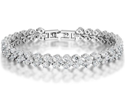 b79549dea White Gold Plated Alloy Tennis Bracelet with Clear Swarovski... for only  $29.99 You save: $130.00 (81%) + Free Shipping