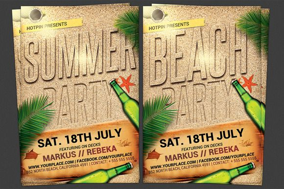 Summer Beach Party Flyer Template  Summer Beach Party Party