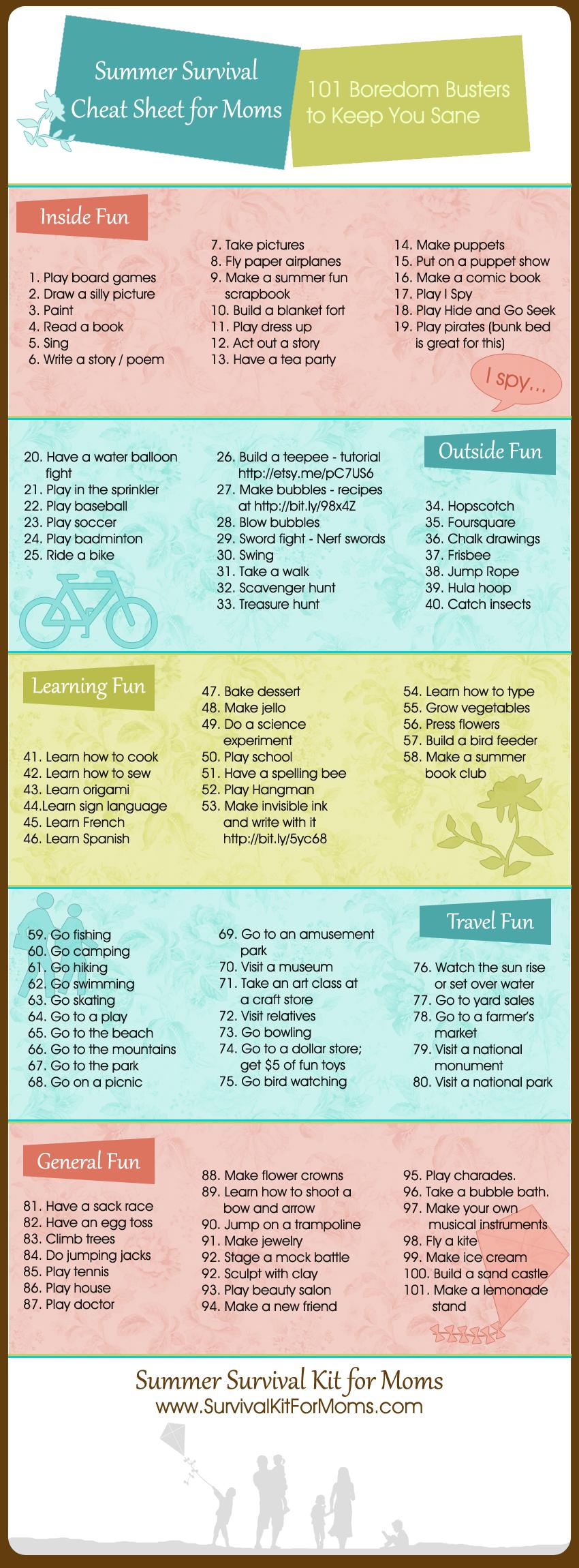 101 summer activities for kids summer survival cheat sheet for moms since i plan - Fun Kids Sheets