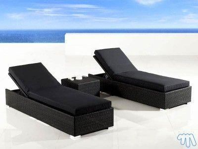 Chaise longue poly rotin Noir Transat en résine SNOOZE | jardin en ...