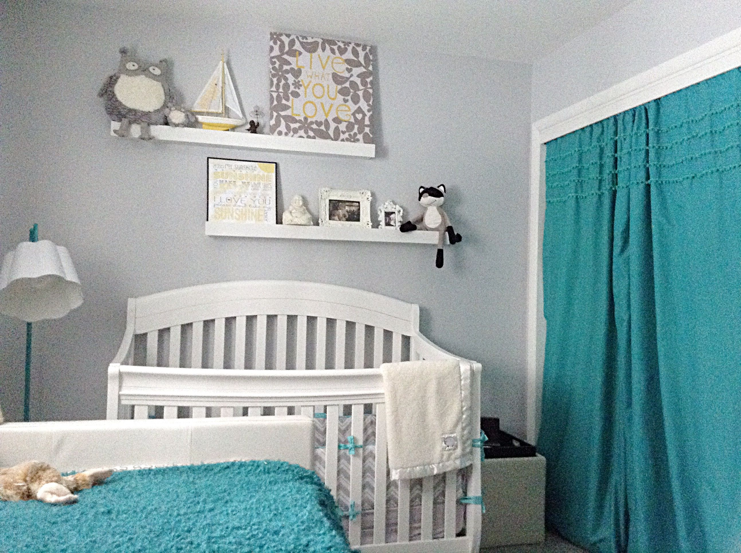 Grey & White with Teal & Yellow neutral baby nursery