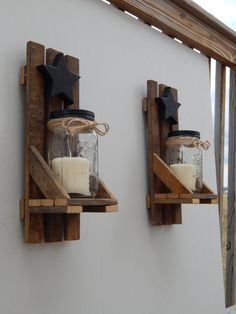 Photo of Mason Jar candle holder, wall lamp with shelf and star. Set of 2! Made with old wood tobacco stick / tobacco latte wood