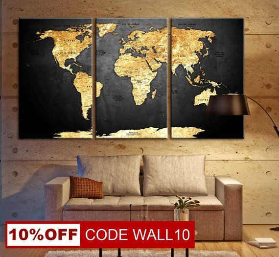 World Map Push Pin Push Pin Travel Map Wall Decor Paintings Travel