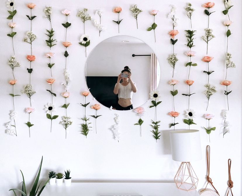Hanging Fake Flower Wall For Backdrops And Room Decor Flower Room Decor Flower Room Cute Room Decor Flower wall decor for bedroom