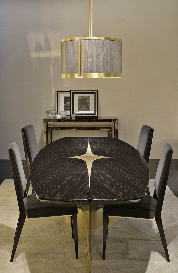 Wood furniture biz products bedroom furniture giusti portos - Gorgeous Dining Table With Inset Star And Lacquered Wood Finish Star Table And Stardust Chair By Thierry Lemaire For Fendi Casa