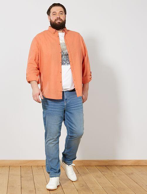6ea9d5c5e9a5 Camicia regular lino e cotone arancio pallido Taglie forti uomo - Kiabi