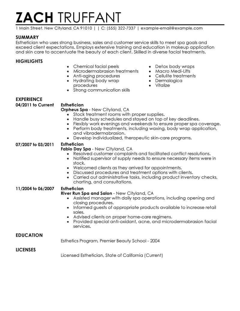 Resume Examples Esthetician Esthetician Examples Resume Resumeexamples Retail Resume Examples Esthetician Resume Sales Resume Examples