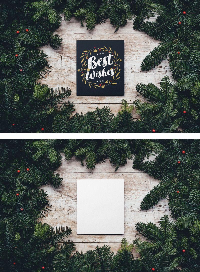 Free Blank Christmas Card Design Mockup In Psd Blank Christmas