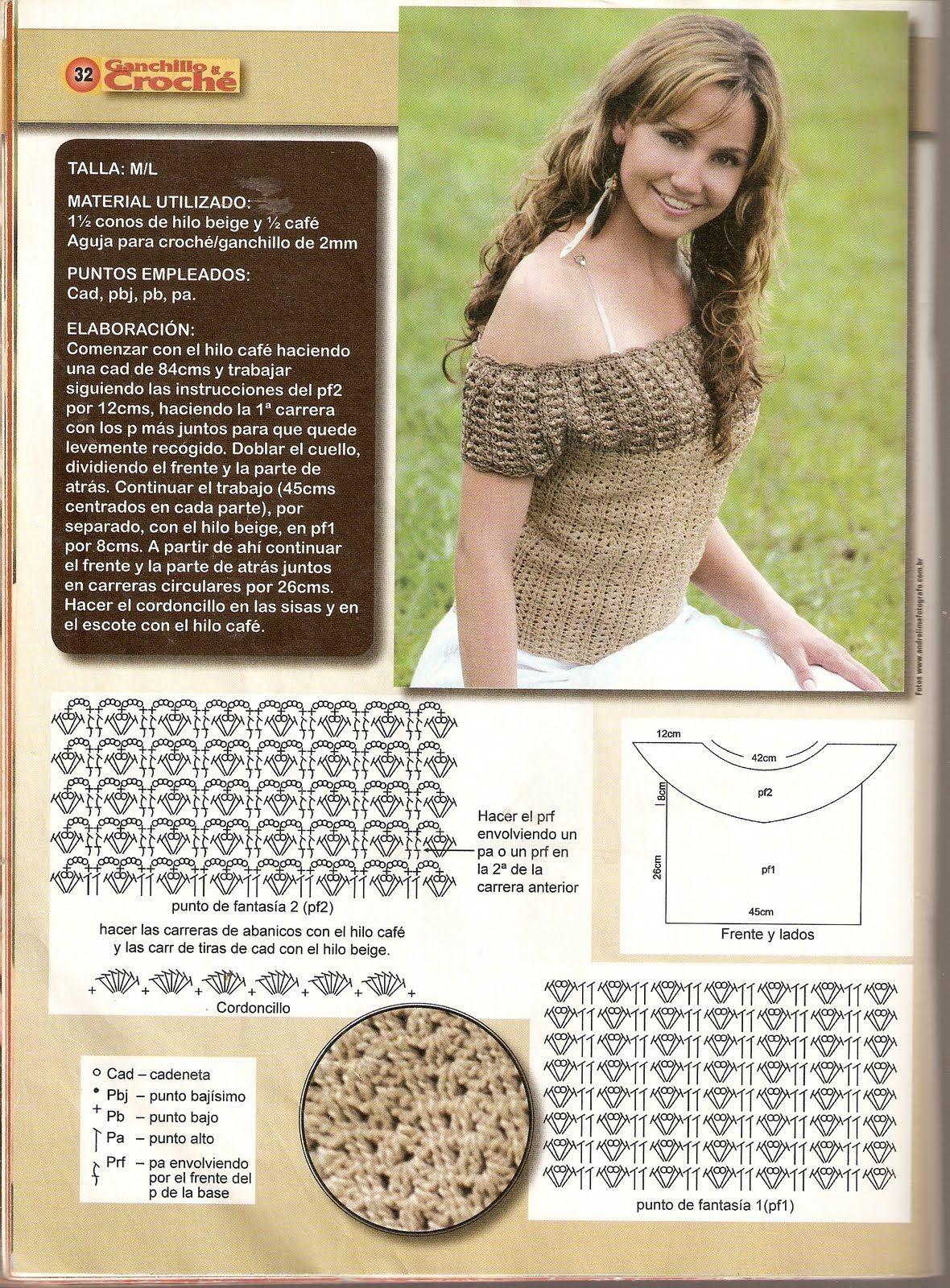 Patrones para Crochet: Top Cuello Desbocado Patron | Crochet blouses ...