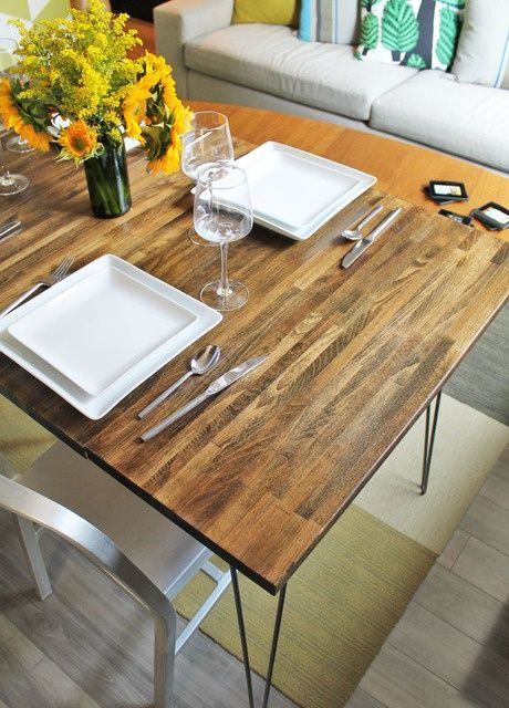 DIYu0027d Dining Table With Leaves Using IKEA Countertop And Hairpin Legs // Joe