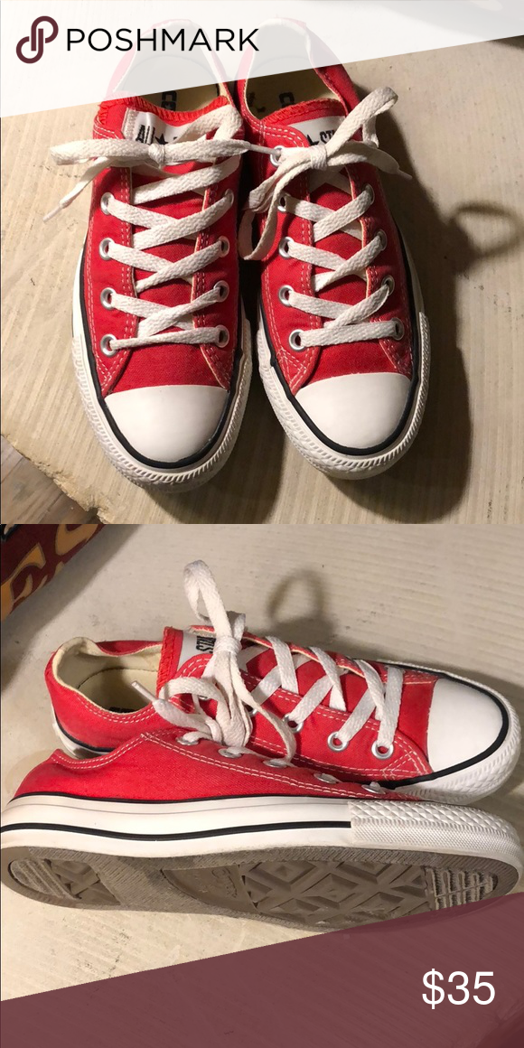 Converse red low top sneakers size 5.5