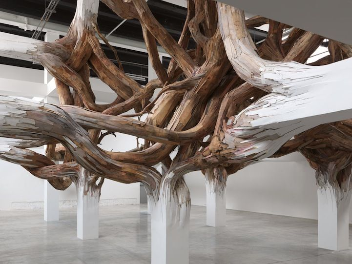 Surreal Tree Branches Sprout Out from Indoor Support Beams