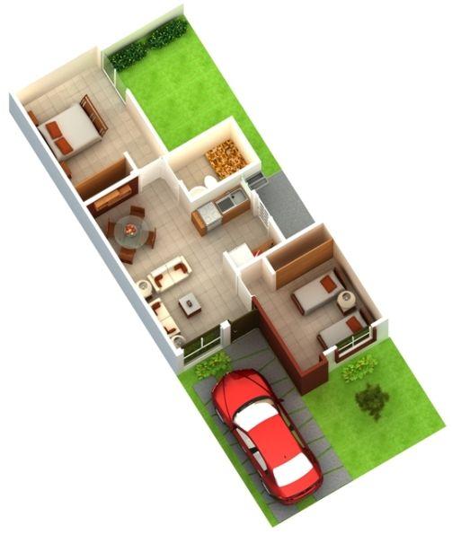 Plano casa una planta dos rec maras arquitectura y for Diseno de recamaras pequenas