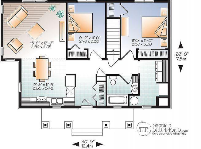 High Quality Découvrez Le Plan W3148 (NOYO 2) Qui Vous Plaîra Pour Ses 2 Chambres Et Son  Style Contemporain / Zen.
