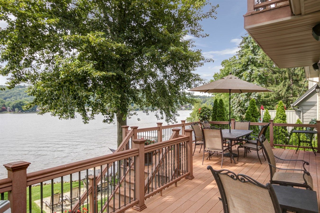 Beautiful lake views from a large deck. #lakemohawk # ... on Sparta Outdoor Living id=66322