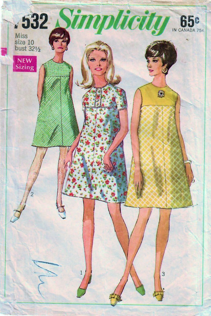 1960s Simplicity 7532 Vintage Sewing Pattern Misses Tent Etsy Vintage Outfits Vintage Sewing Patterns Vintage Sewing