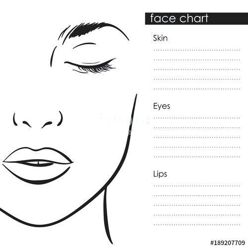 Face Chart Makeup Artist Blank Template Vector Charter