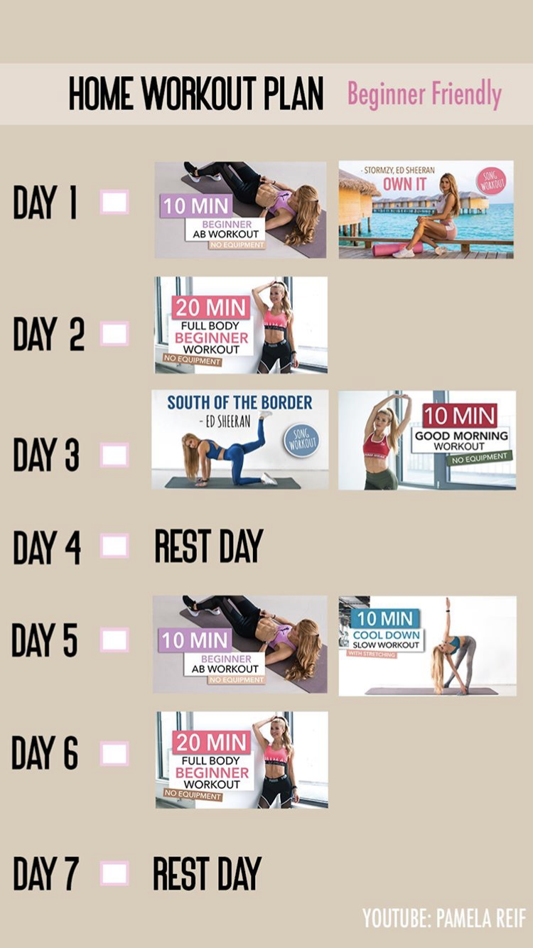 Heres A Home Workout Plan By Pamela Reif For Beginners Ab Testing Ideas Abtesting At Home Workout Plan Beginner Ab Workout Workout Plan For Beginners