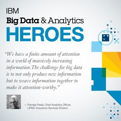 """""""The challenge of #bigdata is to...weave information together to make it attention worthy"""" ~Pamela Peele"""
