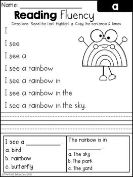 Reading Fluency And Comprehension Set 1 With Images Reading