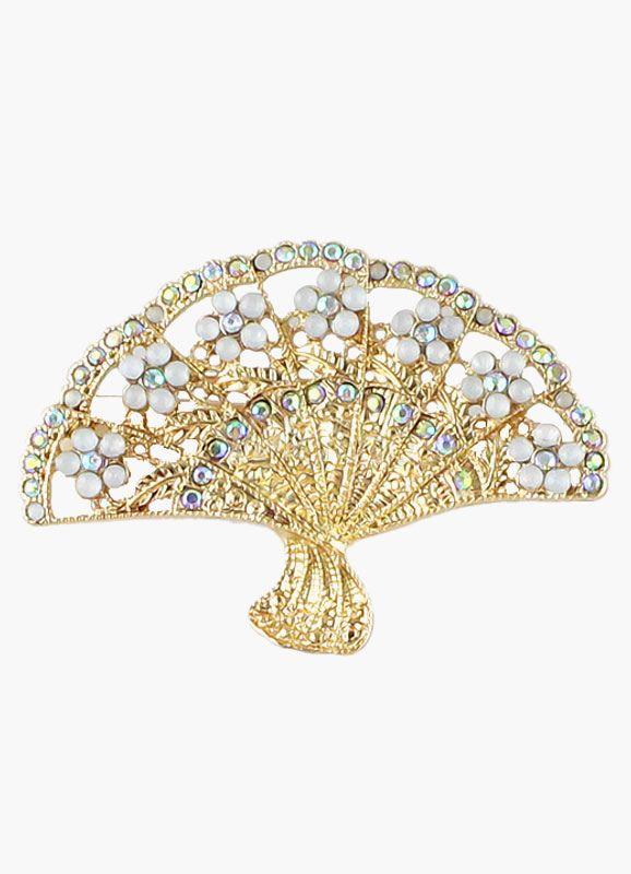 Golden Fan Shaped Rhinestone Brooch Pin Fan Jewelry Women S Brooches Brooch