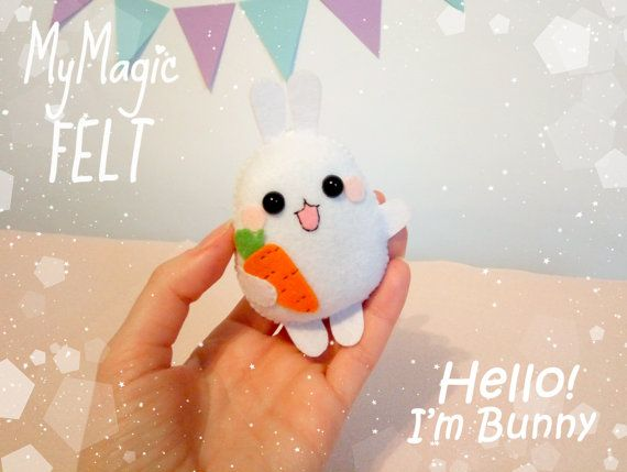 Easter Bunny kawaii ornament bunny felt Easter ornaments cute Easter rabbit felt decor kawaii Easter gift