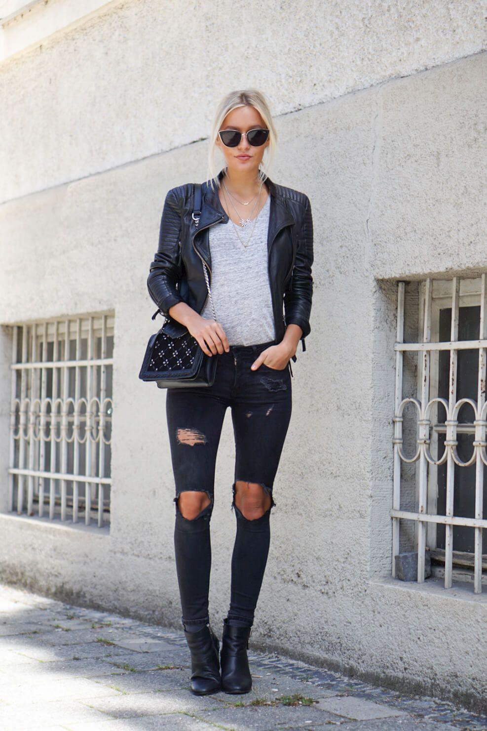 Black Ripped Jeans Faux Leather Jacket Joliejanine Com Black Jeans Denim Fashion Black Ripped Jeans [ 1480 x 987 Pixel ]