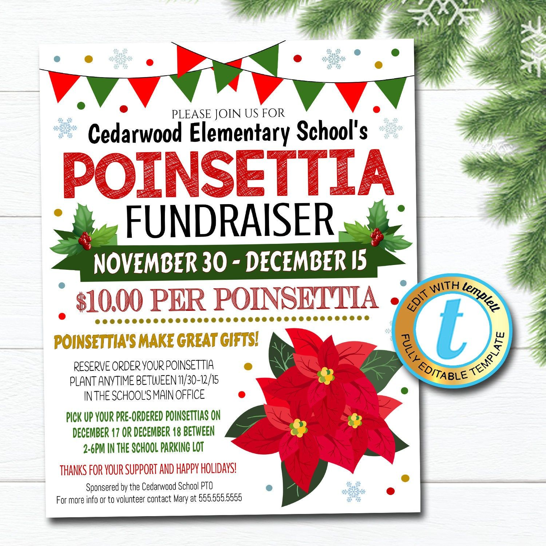 Poinsettia Fundraiser Flyer Christmas School Church Pto Pta Etsy Fundraiser Flyer Christmas School Xmas Shopping
