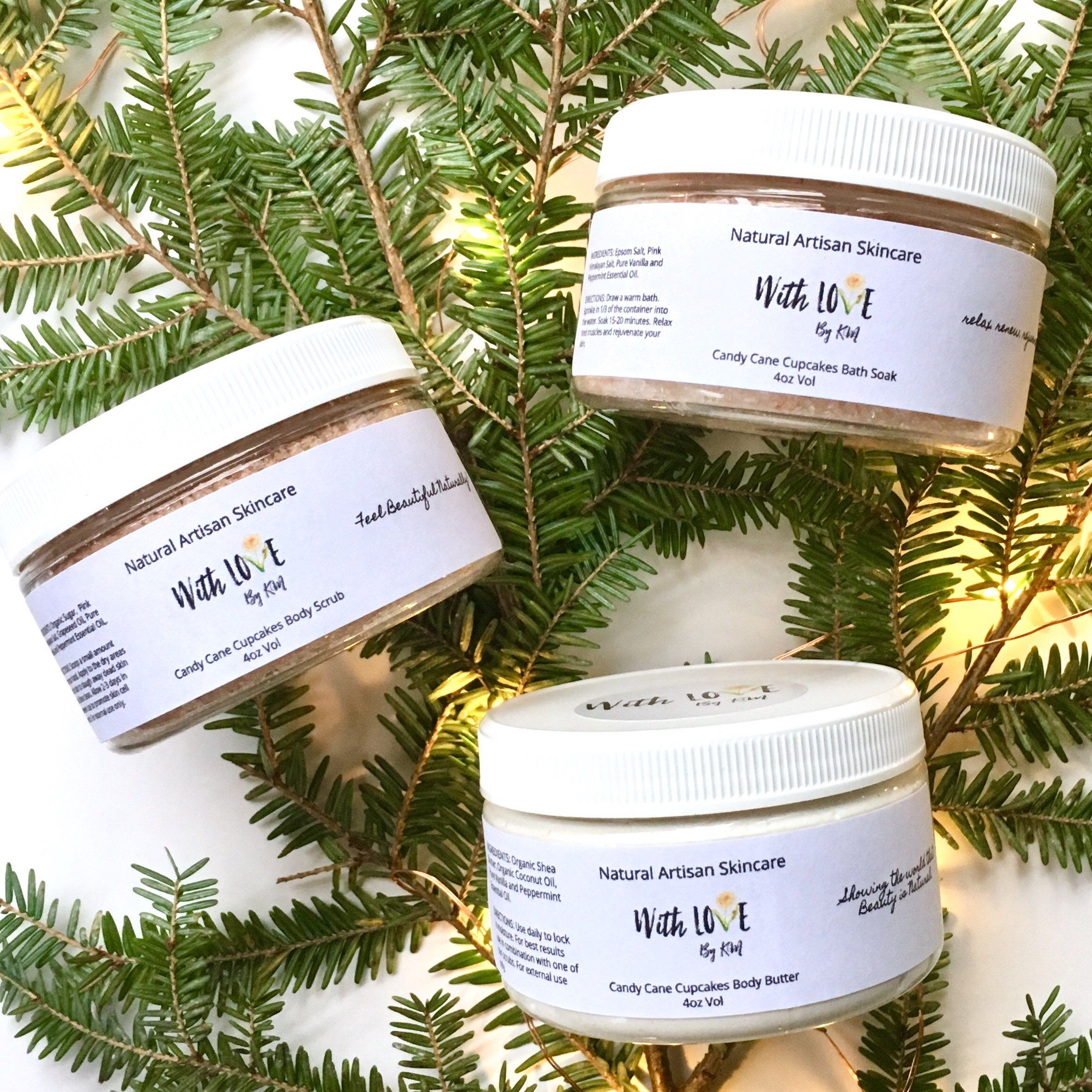 candy cane cupcakes spa gift vegan christmas gift vanilla peppermint spa set organic - Vegan Christmas Gifts